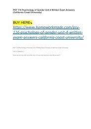 PSY 116 Psychology of Gender Unit 4 Written Exam Answers (California Coast University)