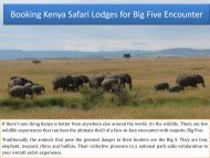 Booking Kenya Safari Lodges for Big Five Encounter