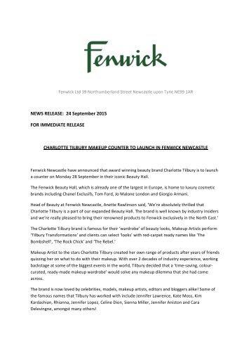 Charlotte Tilbury Press Release