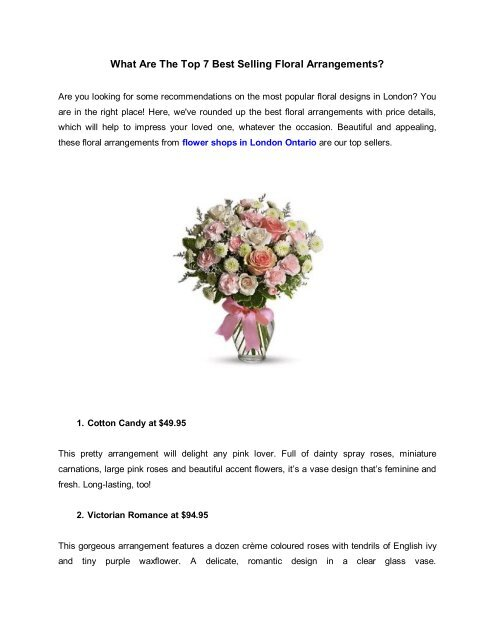 What Are The Top 7 Best Selling Floral Arrangements