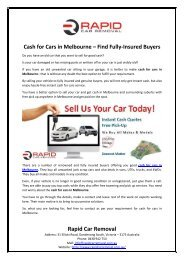 Cash for Cars in Melbourne – Find Fully-Insured Buyers