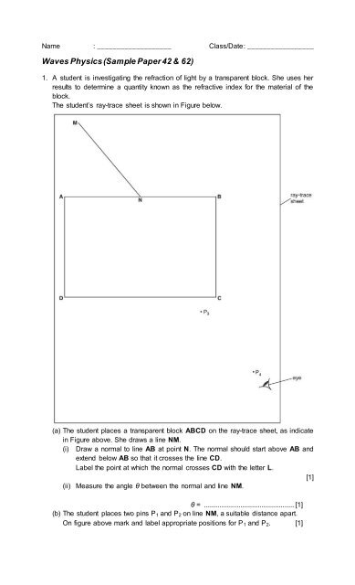 Waves Physics Worksheet Specimen 42 62 IGCSE