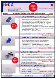 Temperaturüberwachung im Arzneimittellager - H+DG