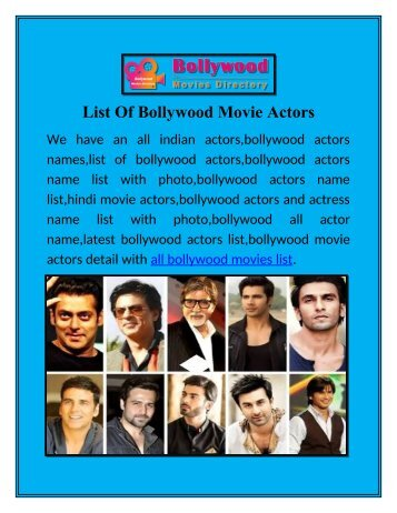 List Of Bollywood Movie Actors