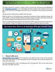 Top Conversion Metrics & Business KPIs You Should Track
