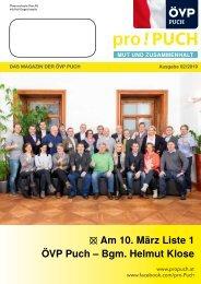 pro!PUCH - Wahlbroschüre 2019 - ÖVP Puch - Bgm. Helmut Klose