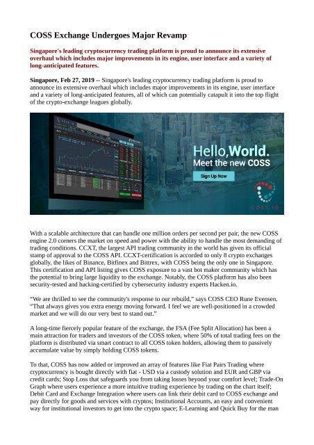 coss cryptocurrency exchange