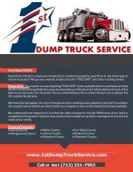 1st dump truck service back fill dirt trucking compony Houston Texas