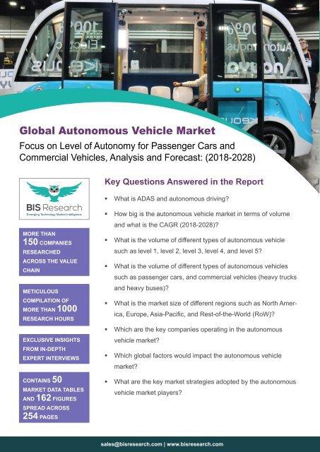 Autonomous Vehicle Market Outlook (2018-2028)