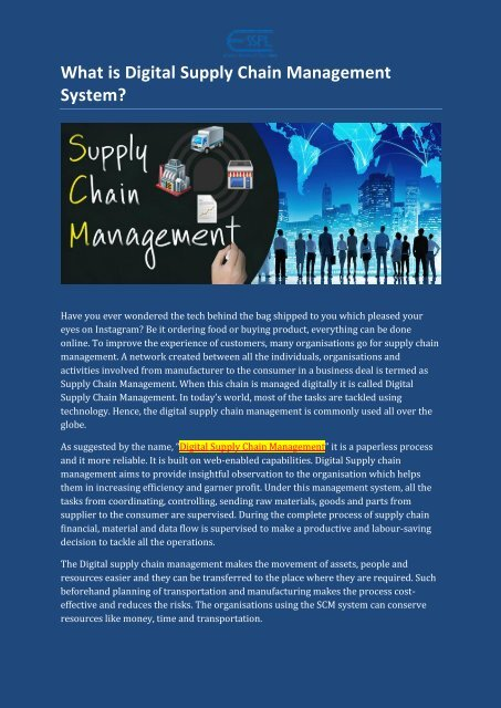 What is Digital Supply Chain Management System