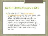 House shifting Company in Dubai
