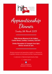 Apprenticeship Dinner Invitation & Menu - Tuesday 5th March