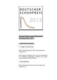 Ausschreibung des Deutschen Schuhpreises 2013 - HDS