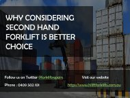 Why Considering Second Hand Forklift is a Better Choice