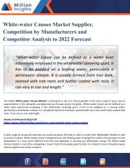White-water Canoes Market Manufacturers, Suppliers and Top Key Players Analysis up to 2017-2022 Forecast