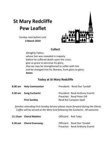 St Mary Redcliffe Pew Leaflet, March 3 2019