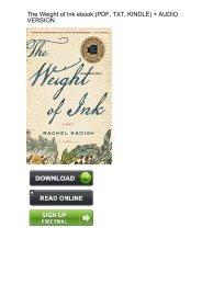 (STARTLING) Download Weight Ink Rachel Kadish ebook eBook PDF
