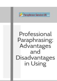 Professional Paraphrasing: Advantages and Disadvantages in Using