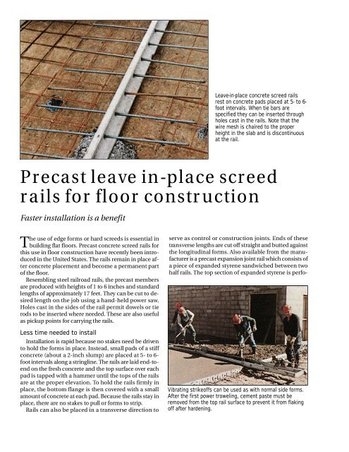 Precast leave in-place screed rails for floor construction