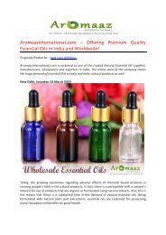 Aromaazinternational.com – Offering Premium Quality Essential Oils in India and Worldwide!