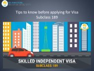 Tips to know before applying for Visa 189