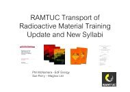RAMTUC Transport of Radioactive Material Training Update and ...