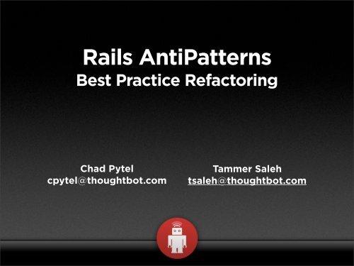 rails antipatterns pytel chad saleh tammer