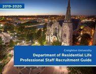 Creighton University Department of Residential Life Recruiting Guide 2019-2020