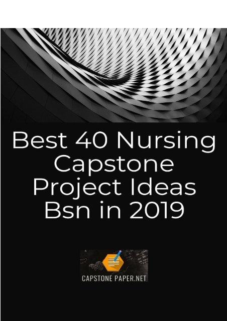 Best 40 Nursing Capstone Project Ideas Bsn in 2019