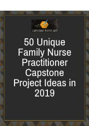 50 Unique Family Nurse Practitioner Capstone Project Ideas in 2019