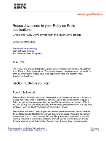 Reuse Java code in your Ruby on Rails applications - IBM