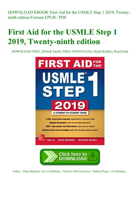 DOWNLOAD EBOOK First Aid for the USMLE Step 1 2019 Twenty