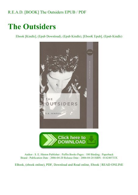 R E A D Book The Outsiders Epub Pdf Thomas howell, matt dillon, ralph macchio, patrick swayze. r e a d book the outsiders epub pdf