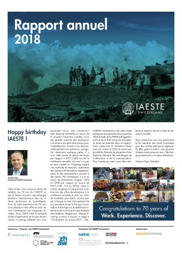 IAESTE Switzerland Annual Review 2018 - French