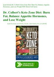 [read ebook] Dr. Colbert's Keto Zone Diet Burn Fat  Balance Appetite Hormones  and Lose Weight PDF Ebook Full Series