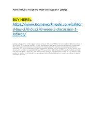 Ashford BUS 370 BUS370 Week 5 Discussion 1 Lafarge