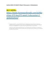 Ashford BUS 372 BUS372 Week 5 Discussion 2 Globalization