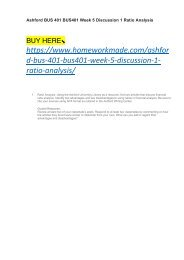 Ashford BUS 401 BUS401 Week 5 Discussion 1 Ratio Analysis