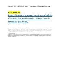 Ashford BUS 402 BUS402 Week 1 Discussion 1 Strategic Planning