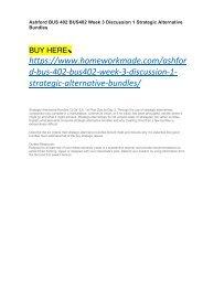 Ashford BUS 402 BUS402 Week 3 Discussion 1 Strategic Alternative Bundles