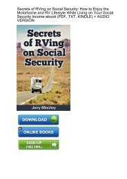 (VIBRANT) Download Secrets RVing Social Security Motorhome ebook eBook PDF