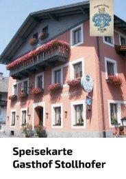 Speisekarte Gasthof Stollhofer, Inzing