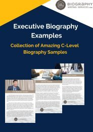 Executive Biography Examples Collection of Amazing C-Level Biography Samples