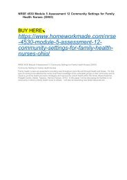 NRSE 4530 Module 5 Assessment 12 Community Settings for Family Health Nurses (OHIO)
