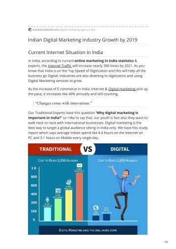 Indian Digital Marketing Industry Growth by 2019