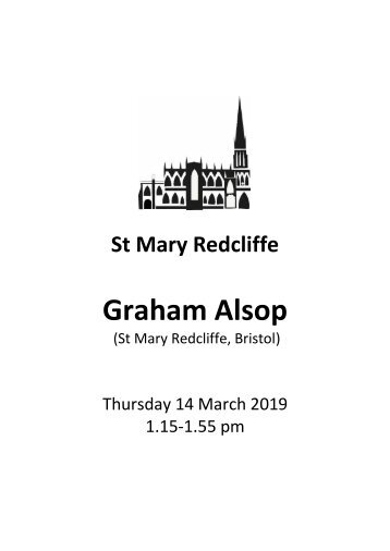 Lunchtime at Redcliffe - Free organ recital featuring Graham Alsop