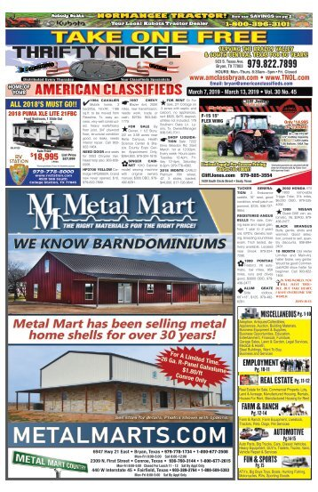 American Classifieds March 7th Edition Bryan/College Station