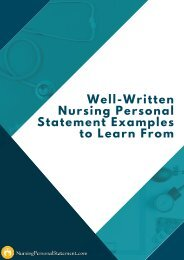 Well-Written Nursing Personal Statement Examples to Learn From