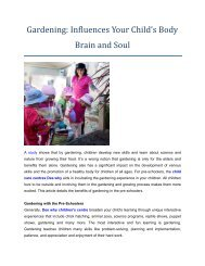 Gardening: Influences Your Child's Body Brain and Soul