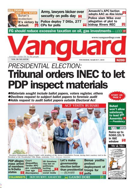 07032019 - Tribunal orders INEC to let PDP inspect materials